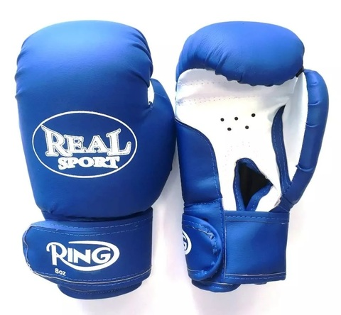 Перчатки  боксерские REALSPORT 12 унций, синий (ЕвСп) (33583 10 унц син)