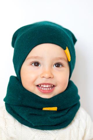Детский снуд-горловинка из турецкой шерсти сине-зеленый