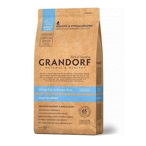 Сухой корм для собак Grandorf гипоаллергенный, при чувствительном пищеварении, белая рыба, с коричневым рисом 12 кг
