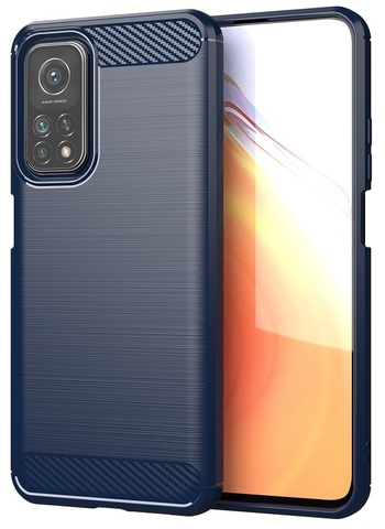Чехол защитный темно-синего цвета на Xiaomi Mi 10T и Mi 10T Pro, серии Carbon (карбон дизайн) от Caseport