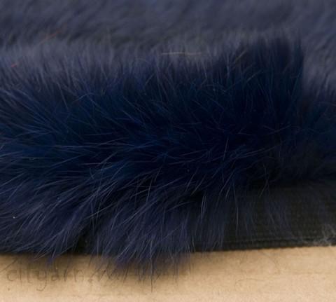Меховая лента из кролика на прочной тесьме, тёмно-синяя, ширина 2.5 см