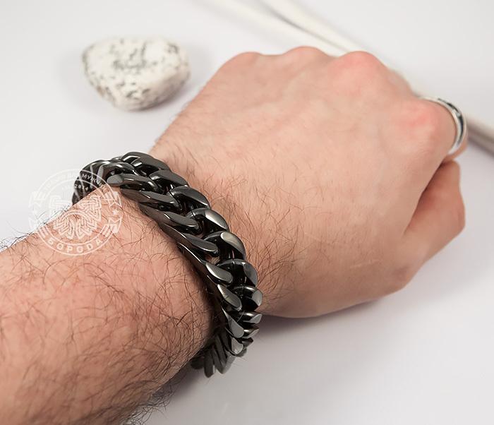 BM280 Лаконичный браслет черного цвета из ювелирной стали (22 см) фото 08