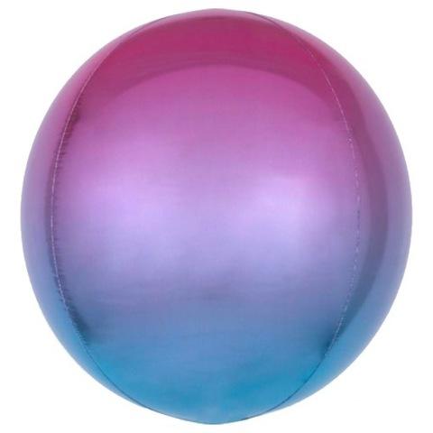 Шар сфера 3D Омбре Голубой Фиолетовый, 45 см