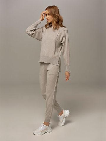 Женские брюки цвета серый меланж из шелка и кашемира - фото 5