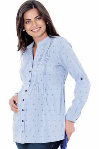 Рубашка для беременных 01407 голубой