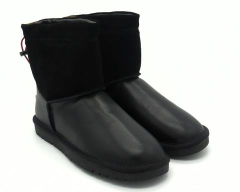 Угги м зима из комбинированой кожи чёрного цвета
