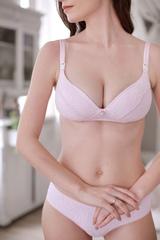 Бюстгальтер для кормления с плотными чашечками цвет розовый/кружево