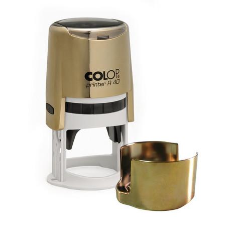 Оснастка для печати круглая Colop Printer R40 40 мм с крышкой золотистая