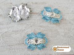 Металлический декор бирюзовые лепестки на серебре (с петельками)