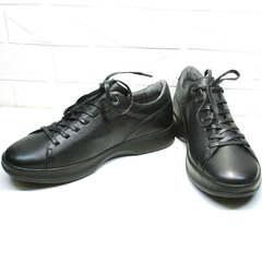 Мужские черные кроссовки кеды кожа весна осень Ikoc 1725-1 Black.
