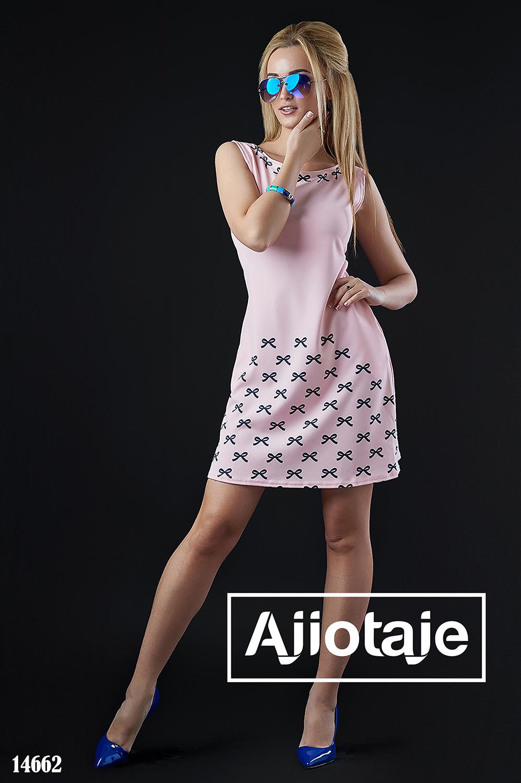 Платье мини цвета пудра с бантиками