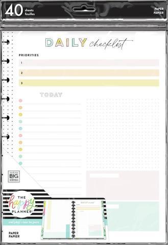 Дополнительный блок  для ежедневника Daily Checklist and Priorities Big FIller Paper- 40 л