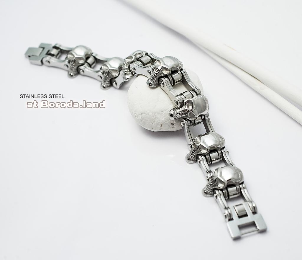 BM281 Массивный мужской браслет с черепами из стали (22 см) фото 02