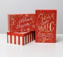 Набор подарочных коробок 3 в 1 «Зима пора чудес», 32,5 х 20 х 12,5 - 26 х 17 х 10 см, 1 шт.