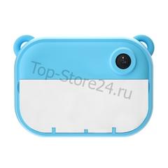 Детский фотоаппарат моментальной печати мишка голубой