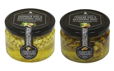 Набор (2 шт.) орехов в акациевом меду: кедровый и грецкий, 500 г