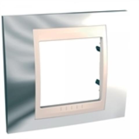 Рамка на 1 пост. Цвет Серебро/Бежевый. Schneider electric Unica Хамелеон. MGU66.002.510
