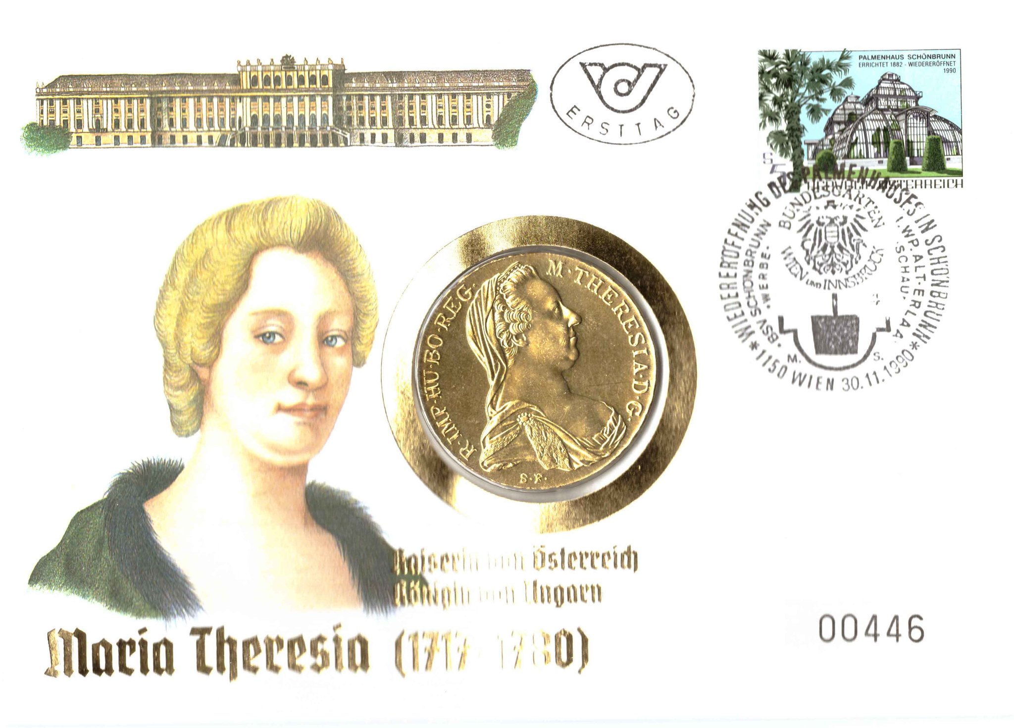 1 талер 1780. Австрия. Рестрайк AU (Талер Марии Терезы). В позолоте. UNC. В конверте со спецгашением
