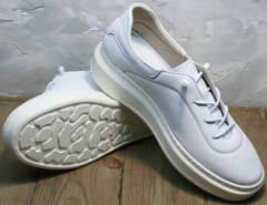 Белые женские кожаные кроссовки на каждый день Rozen M-520 All White.