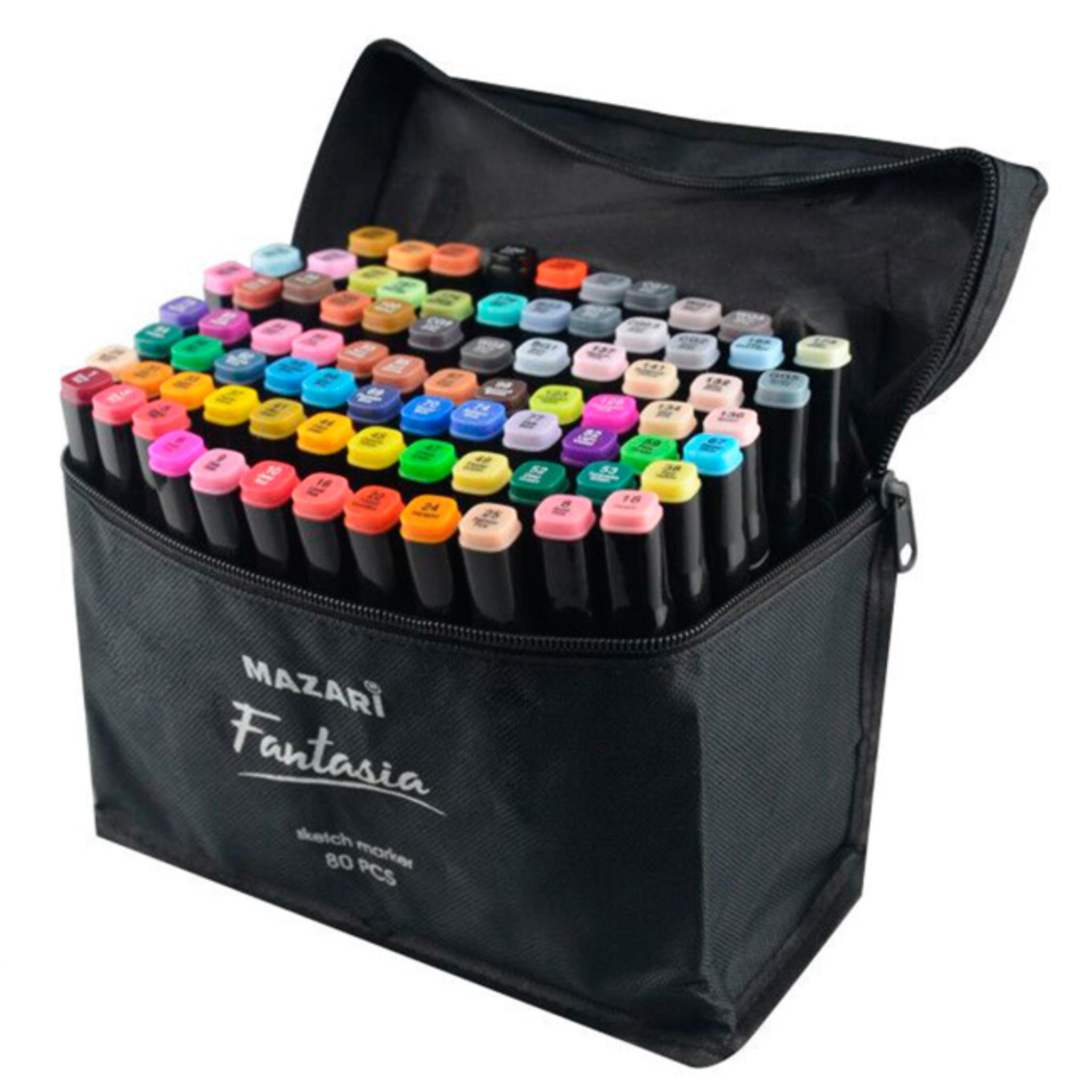 Mazari Fantasia набор маркеров для скетчинга 80 шт в сумке пенале - двусторонние спиртовые пуля/долото 3.0-6.2 мм