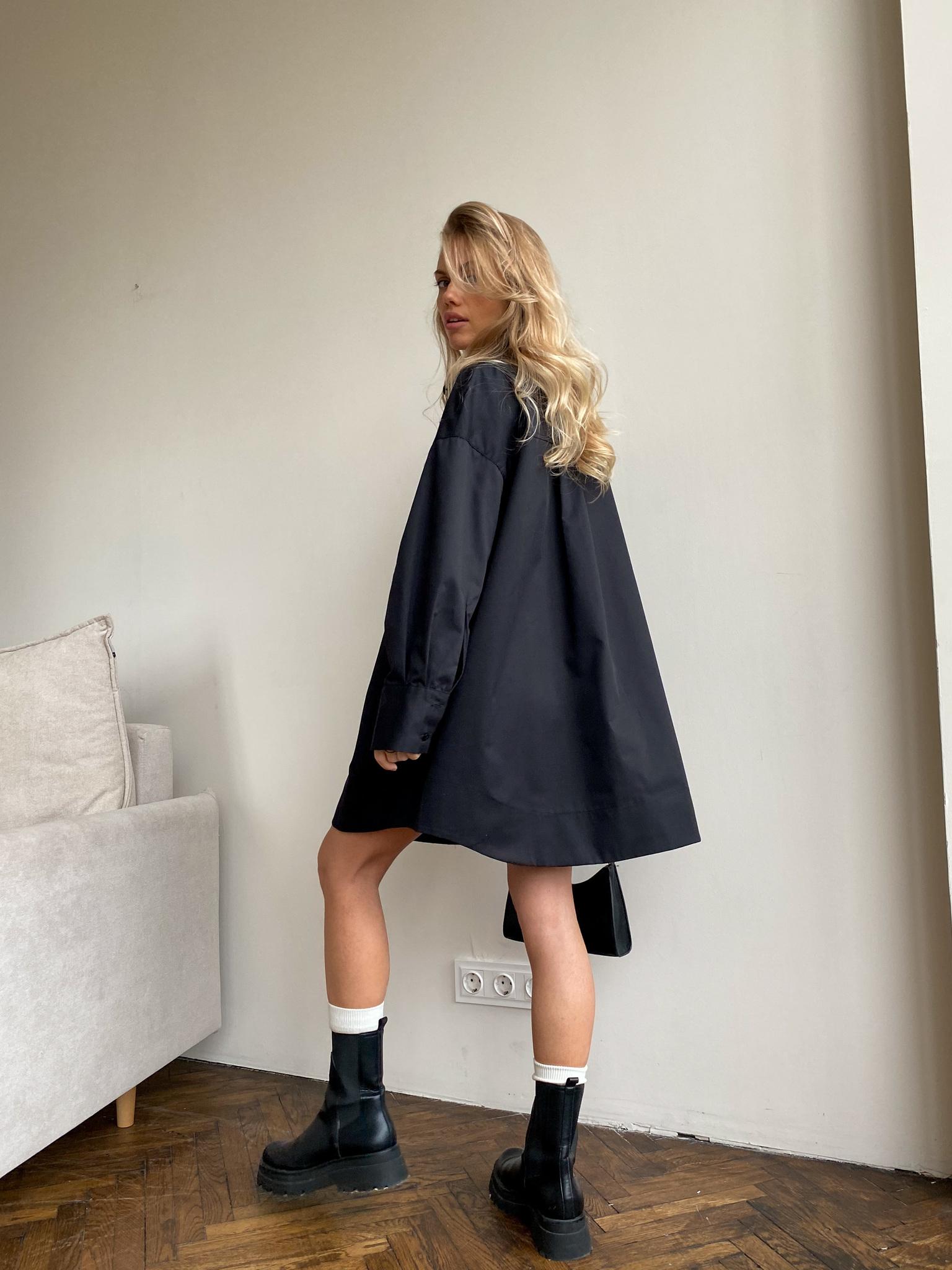 Платье-рубашка свободного кроя (черный)