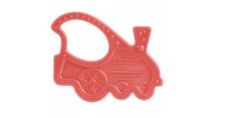 Прорезыватель мягкий, 0+, 3 вида (13/118) (красный, форма: паровозик)