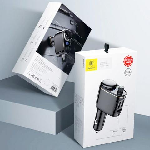 Автомобильное зарядное устройство с FM-трансмиттером 2xUSB Baseus Locomotive Bluetooth MP3 (CCALL-RH01)