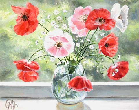 Картина раскраска по номерам 50x65 Маки в вазе