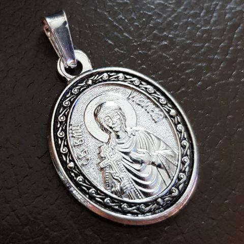 Нательная именная икона святая Ирина с серебрением кулон с молитвой