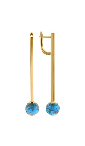 Серьги Bottega Murano золотисто-голубые Letitia Aqua Gold 036O