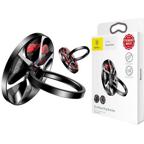 Кольцо-держатель для телефона Baseus Wheel Ring Bracket, black-silver