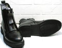 Кожаные демисезонные модные черные ботинки Tina Shoes 292-01 Black.