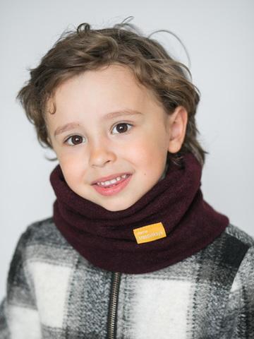 Детский снуд-горловинка из турецкой шерсти марсала