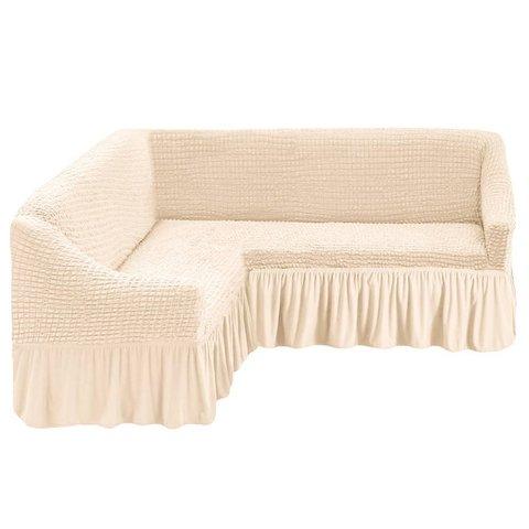 Чехол на угловой диван, молочный