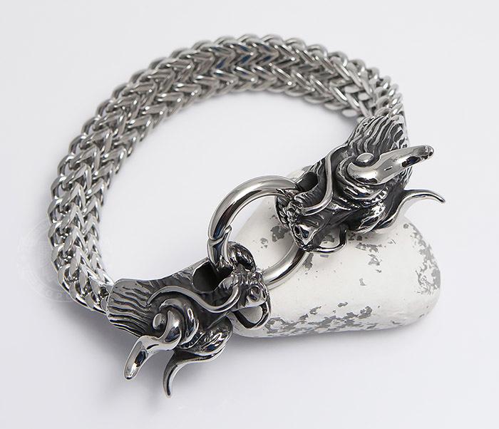 BM475 Тяжелый стальной браслет с драконами (22 см)