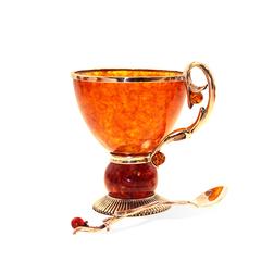 Чашка чайная из янтаря Саламандра