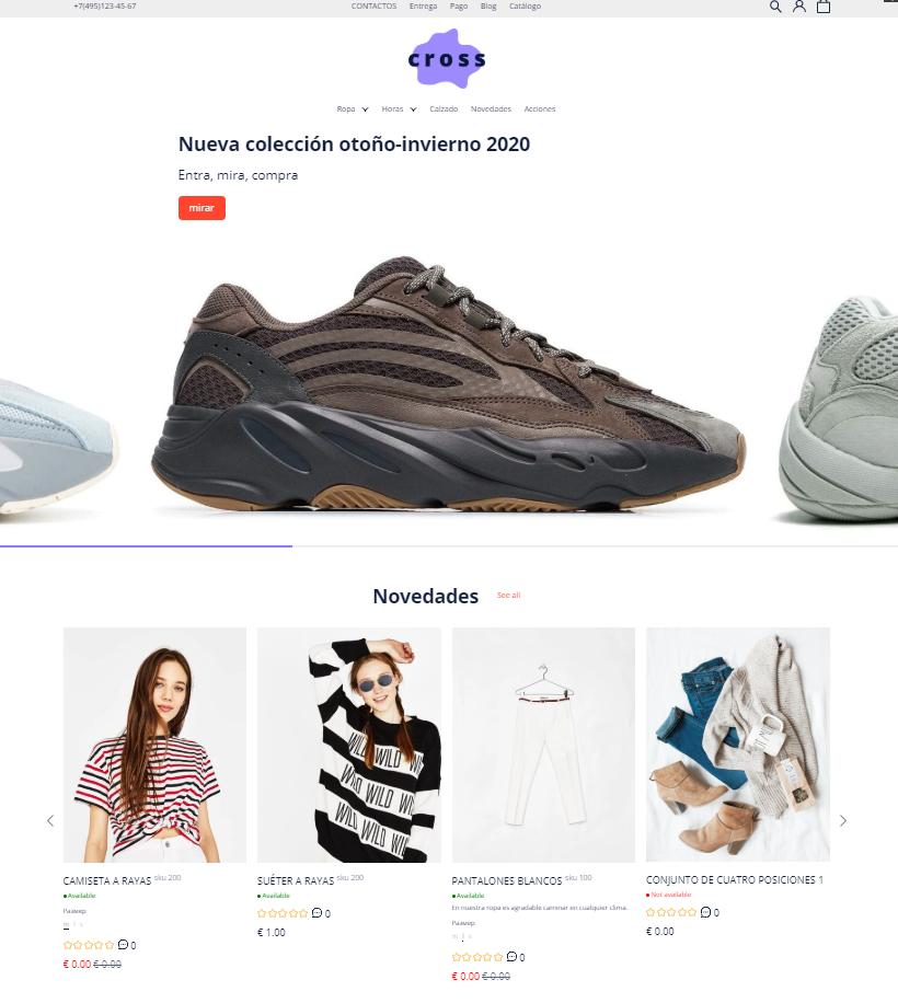 Plantilla de la tienda online