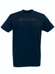 Футболка с принтом Тойота  (Toyota) темно-синяя 001