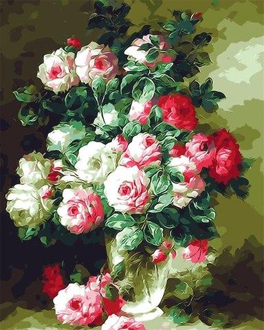 Картина раскраска по номерам 40x50 Прекрасный букет роз (арт. ТС3315)