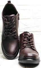 Кожаные кеды женские демисезонные ботинки на шнуровке Evromoda 535-2010 S.A. Dark Brown.