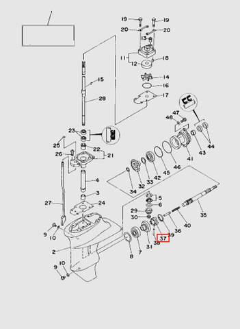 Муфта сцепления  для лодочного мотора T15, OTH 9,9 SEA-PRO (16-37)