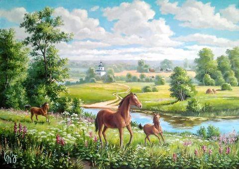 Картина раскраска по номерам 50x65 Семейство лошадей на прогулке