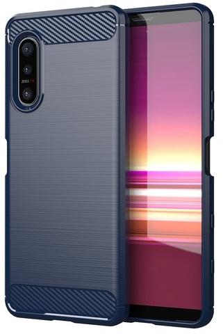 Защитный темно-синий чехол для смартфона Sony Xperia 5 II генерация 2020, серия Carbon от Caseport
