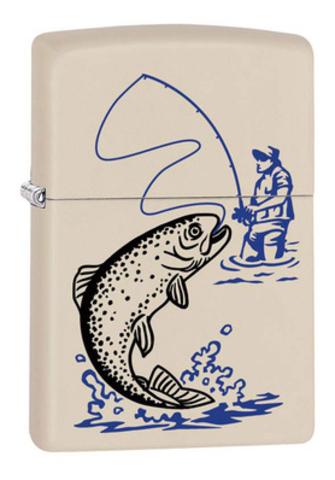Зажигалка Zippo Fishing с покрытием Cream Matte, латунь/сталь, кремовая, матовая, 36x12x56 мм