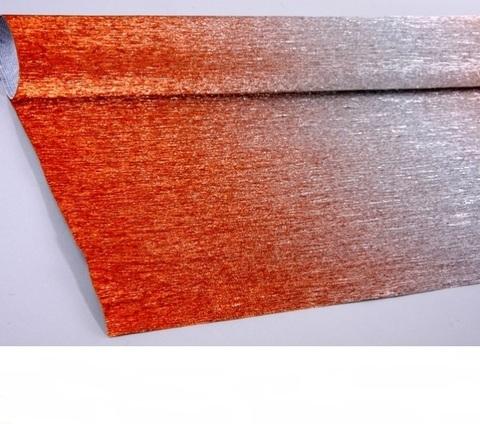Гофрированная бумага металл с переходом цвет 802/4 серебряно-красный, 180г, 50х250 см, Cartotecnica Rossi (Италия)