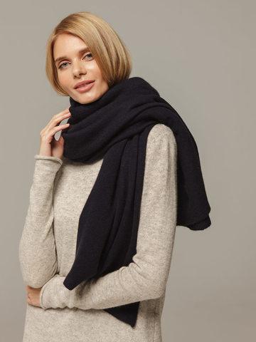 Женский шарф темно-синего цвета из 100% кашемира - фото 4
