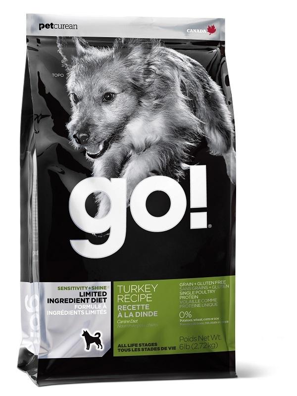 Сухой корм Корм для щенков и взрослых собак, GO! SENSITIVITY + SHINE LID Turkey Dog Recipe, беззерновой, с индейкой для чувствительного пищеварения 13845.jpg