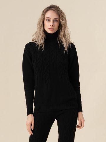 Женский свитер черного цвета из 100% кашемира - фото 2