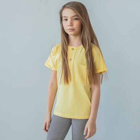 Polo T-shirt for teens - Daffodil