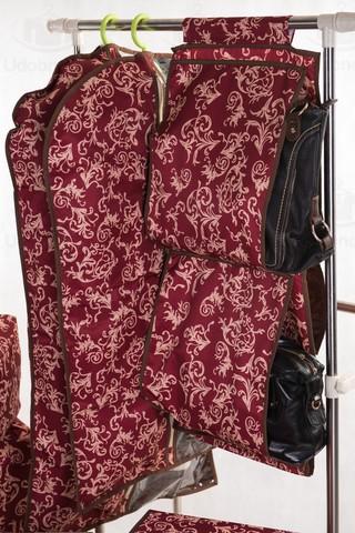 Чехол для средней одежды с прозрачной половиной, 60*100 см (бордо с узорами)